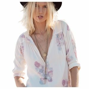 ASTARS Cabana Blouse White Pink Floral Print
